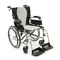 Karman S-2512 Aluminum ErgoFlight Ultra Lightweight Ergonomic Wheelchair S-2512F18SS, Swing In/Away Removable footrest 18W X 17D Seat, Frame Color Silver & FREE Medical Utility Bag Black!