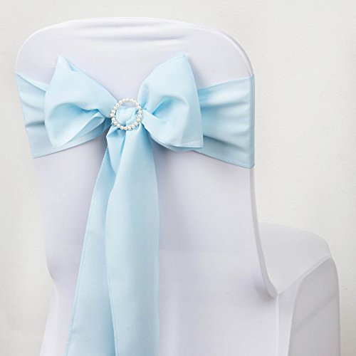BalsaCircle 10 Light Blue Polyester Chair Sashes Bows Ties - Wedding Party Ceremony Reception Decorations Cheap Supplies Wholesale