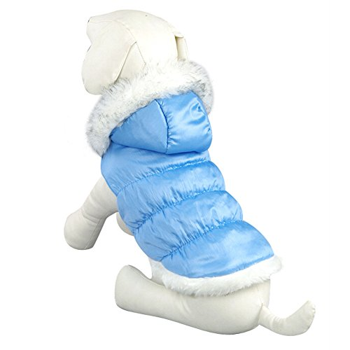 Cheap NACOCO Teddy Dog Clothes Winter Cotton-Padded Jacket with Hood Princess Model (Blue, XL)