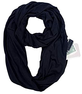 Infinity Scarf Pocket Shawl Wrap for Lipstick Phone Gym Cash Travel Packable