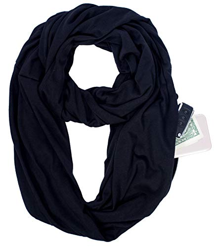 Infinity Scarf Pocket Shawl Wrap for Lipstick Phone Gym Cash Travel Packable from ecoinway