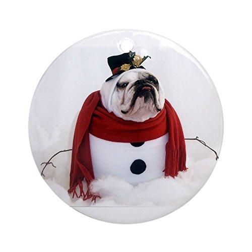 CafePress Snowman Ornament (Round) Round Holiday Christmas Ornament Bulldog White Christmas Ornament