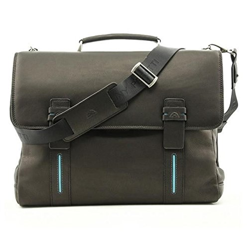 Tony Perotti Mens Italian Leather Flaminio Double Compartment Leather Laptop Briefcase in Black by Tony Perotti