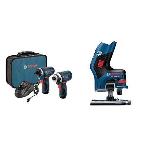 Bosch CLPK27-120 12-Volt Max Lithium-Ion 2-Tool Combo Kit (Drill/Driver and Impact Driver) and Brushless Palm Edge Router