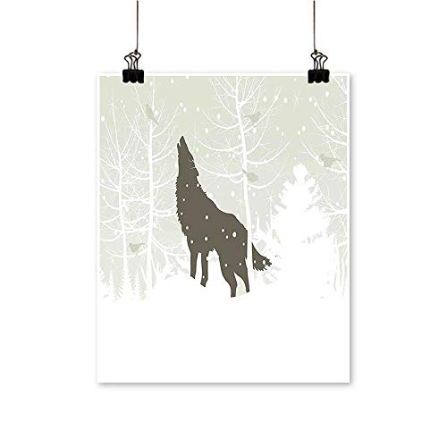 painting-home Canvas Prints Wall Art Silhouette Howls in Woods Leafless Trees Snowflakes Wilderness Nature Eggshell White Black Artwork for Wall Decor,24