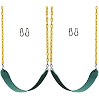 "Jungle Gym Kingdom 2 Pack Swings Seats Heavy Duty 66"" Chain Plastic Coated - Playground Swing Set Accessories Replacement Snap Hooks"