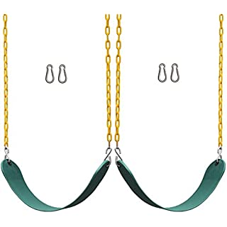 "Jungle Gym Kingdom 2 Pack Swings Seats Heavy Duty 66"" Chain Plastic Coated - Playground Swing Set Accessories Replacement Snap Hooks (Green)"