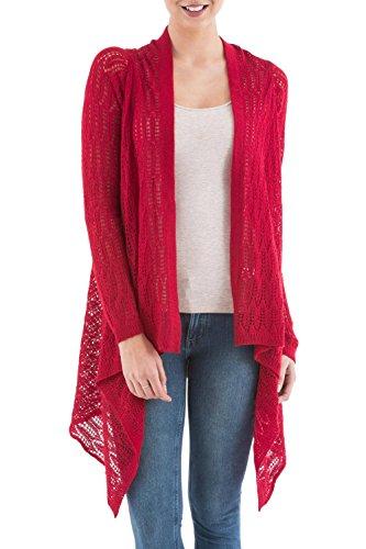 NOVICA Red Alpaca Wool Blend Sidetail Cardigan Sweater, Mirage'
