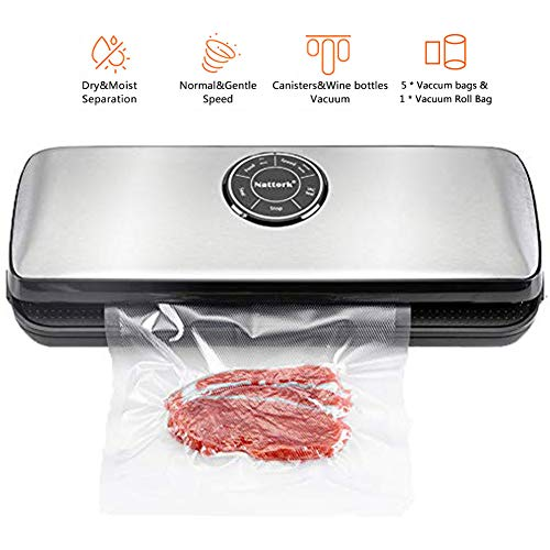Fathers day Nattork Vacuum Sealer Machine, Dry & Moist, Normal & Gentle Modes for Food Preservation with Starter Bags and Roll Starter Kit for Food Saver and Sous Vide
