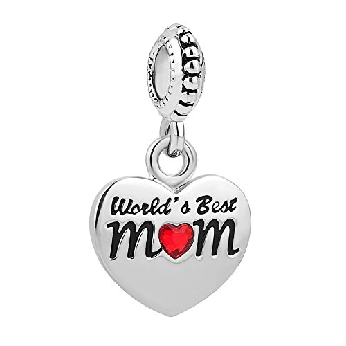 Charmed Craft Heart I Love You Charms World's Best Mom Charms Mother Charm Beads for Snake Chain Bracelet (Red) (Mom Charm Bead)