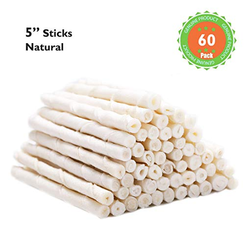 (MON2SUN Dog Rawhide Twist Sticks Natural 5 Inch 60 Count for Puppy and Small Dogs)