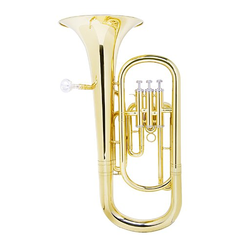 Cecilio 2Series BR-280 Brass Bb Baritone with Stainless Steel Valves, Yellow by Cecilio