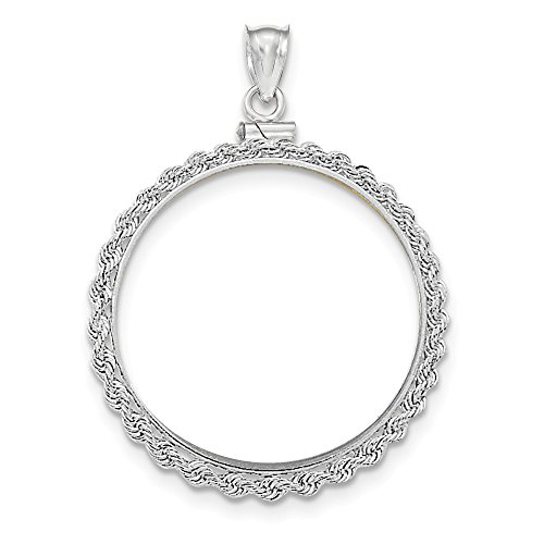 (14K White Gold Hand Made Rope Polished Screw Top 1 ounce American Eagle Coin Bezel Pendant ~ from Roy Rose Jewelry)