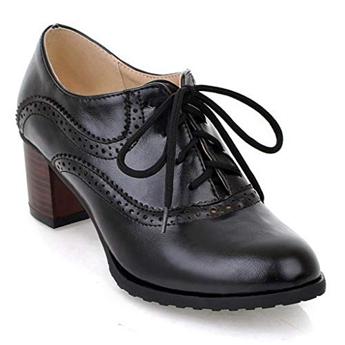 Womens Block Heel Oxfords Lace-up Pointd Toe Dress Pumps Loafers Vintage Handmade Platform Shoes Black