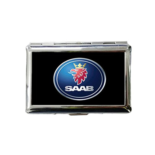 Price comparison product image SAAB Custom Style Classic Metallic Silver Color Stainless Steel ID Cigarette Case Holder Credit Card RFID Protective Security Wallet
