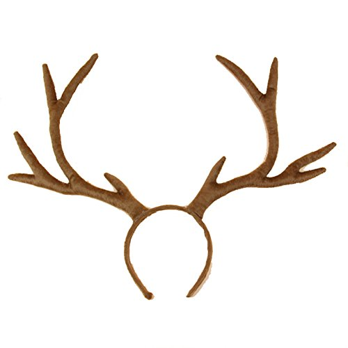 Christmas Decor Festival Celebration Accessory Cute Cosplay Deer Reindeer Antlers Head Hair Band Fiesta Photo Party Props Headdress Headwear (Coffe brown)
