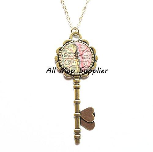 Charming Key Necklace,Omaha map Key Necklace, Omaha Key Pendant Council Bluffs map Key Pendant map jewelry Omaha Key Necklace Council Bluffs Key -