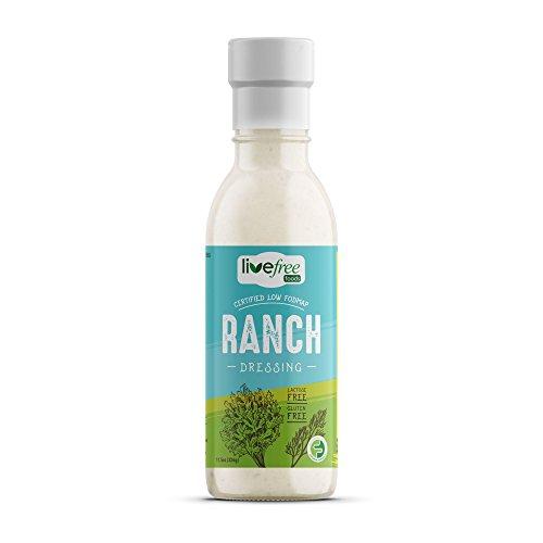 Live Free - Low Fodmap Ranch Dressing - FODMAP Friendly Certified Salad Dressing - Lactose Free Gluten Free for IBS Diet 11.5 oz. Bottle