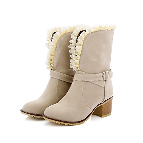 Kitten Boots Solid Heels AllhqFashion Round Closed Womens Beige Frosted Toe Pull on wqtt7Tvn