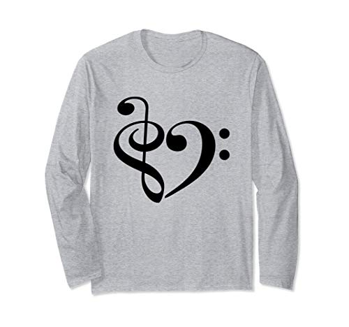 Treble Clef Bass Clef Musical Heart Music Lover Long Sleeve T-Shirt