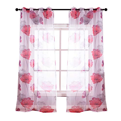 Kotile Contemporary Botanik Floral Style Girls Room Semi Sheer Curtains, 2 Panels 63 inch Long Grommet Home Fashion Window with Red Print Design, Perfect forBaby - Floral Contemporary Curtain