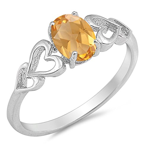 - 925 Sterling Silver Faceted Natural Genuine Yellow Citrine Oval Heart Ring Size 4