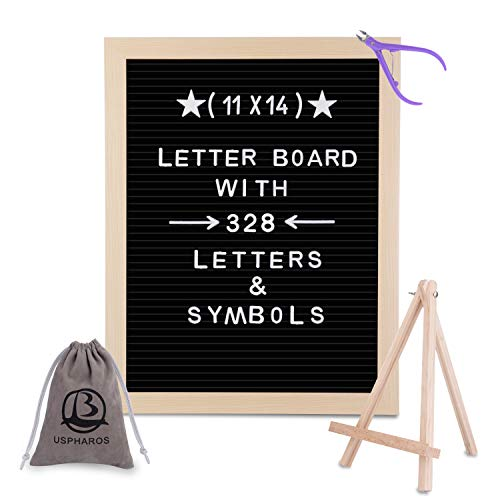Black Felt Letter Board 11x14 Inches with Stand.Changeable Letter Boards Include 328 Precut White Plastic Letters & Oak Frame.