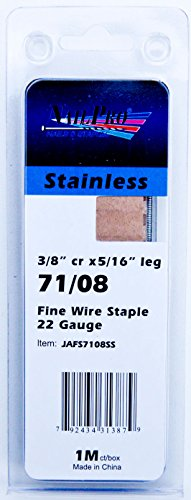 """Price comparison product image NailPRO 71 / 08SS 22 Ga 5 / 16"""" Leg x 3 / 8"""" Crown Stainless Steel Fine Wire Staples,  1000 Count"""