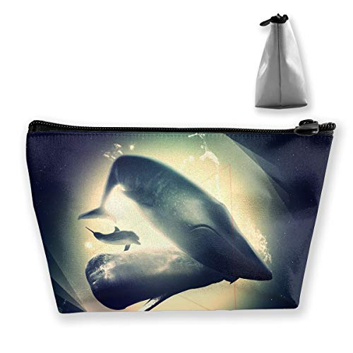 Makeup Bag Cosmetic Animals Dolphins Space Portable Cosmetic Bag Mobile Trapezoidal Storage Bag Travel Bags with -
