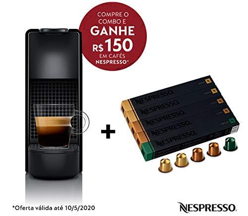 Cafeteira Nespresso Essenza Mini Preta 110V e Seleção Equilibrados 50 cápsulas de café