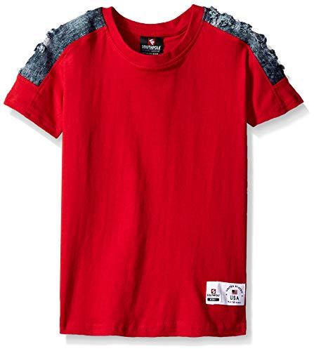 (Southpole Boys' Little Colorblock Short Sleeve Fashion Tee, red Denim Pintuck,)