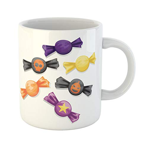 Semtomn Funny Coffee Mug Orange Sweet of Candy in Different Wrappers Halloween Purple 11 Oz Ceramic Coffee Mugs Tea Cup Best Gift Or -