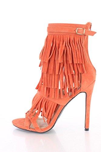 Alba Kiki Orange Pink Black Fringe Strappy Sole Sole Heels Faux Suede Orange