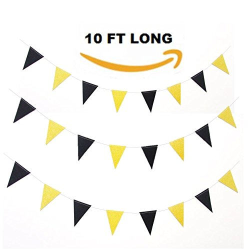 Pennant Shaped Flag - Black and Gold Glittery Sparkling Triangle Pennant Flag Bunting Banner Garland Holiday Decoration. 10 ft Vintage Style Party Supplies, 15 flags.