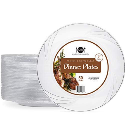 """Disposable Clear Plastic Plates - 50 Pack - 9"""" Round Dinner Size - Premium Quality Hard and Elegant Party Goods - For Parties and Everyday Use - Aya's Cutlery -"""