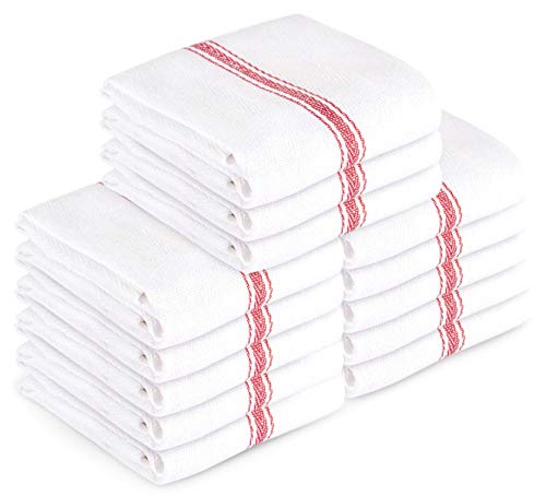 Stripe Kitchen Dish Towel - Kitchen Towel Dish Towels (13 Pack) Tea Towels 100 Percent Cotton Dish Cloths Red and White Dish Towels (15 x 25 Inch) Machine Washable By Ama's Kitchen