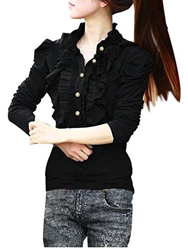 Allegra K Lady Ruffled Embellished 1/2 Placket Stand Collar Puff Sleeve Shirt, X-Large / US 18, Black