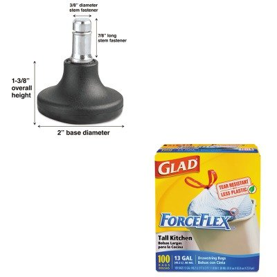 KITCOX70427MAS70179 - Value Kit - Master Caster Bell Glides (MAS70179) and Glad ForceFlex Tall-Kitchen Drawstring Bags (COX70427)