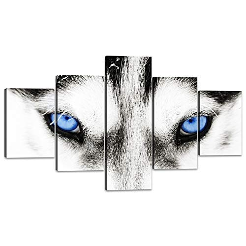 - Yatsen Bridge Large Canvas Wall Art Black and White Dog with Blue Eyes Poster Animal Face Head Series 5 Pieces Picture Painting Home Decor Wall Art(70''W x 40''H)