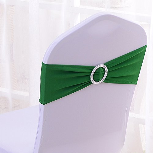 25 Green (50PCS Spandex Chair Sashes Bows Elastic Chair Bands With Buckle Slider Sashes Bows For Wedding Decorations 25 Colors (Dark Green))