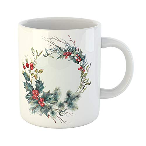 Tarolo 11 Oz Mug Coffee Mug Ceramic Tea Cup Watercolor Christmas Forest Wreath Made of Spruce Branches Holly Berry Hawthorn Mistletoe Cypress Dry and Twigs Large C-handle Family and Office Gift