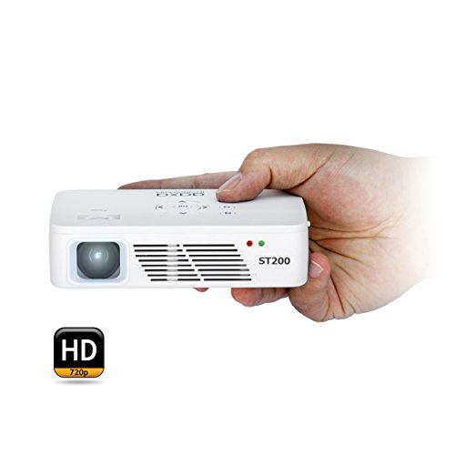 AAXA ST200 HD 1280 x 720 Resolution LED Short Throw Pico Projector, 150 Lumens, 60 Minute Battery, 15,000 Hour LEDs (Refurbished)