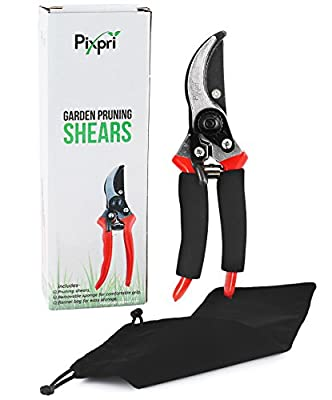 Pixpri Pruning Shears (Red) - Garden Bypass Pruners and Ergonomic Flower Cutter - Ideal Gardening Tool for Trees, Shrubs, Bushes, Weeds - Non-Slip, Foam Grip - Flannel Storage Bag