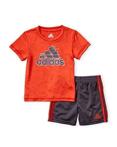 adidas Infant Boys 2pc Short Sleeve Active T-Shirt and Shorts Set Orange/Grey (Orange Adidas Baby)