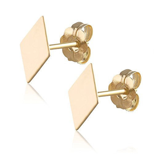 BallucciToosi Diamond Shaped Stud Earrings -14k Real Yellow Gold Girls and Women Christmas Gift - Small and Minimalist Stud (Gold Lozenge)