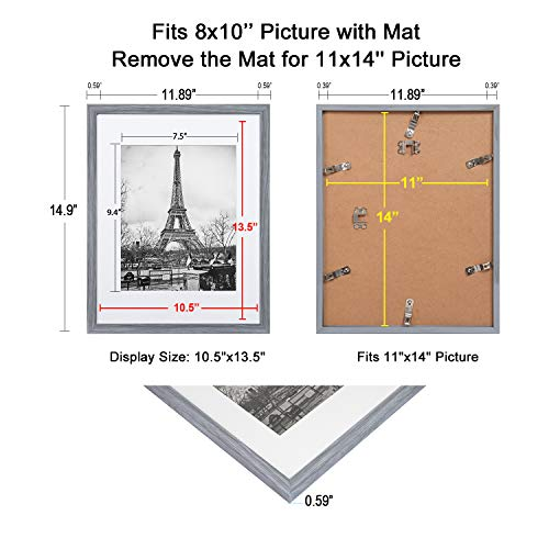 upsimples 11x14 Picture Frame Set of 5,Display Pictures 8x10 with Mat or 11x14 Without Mat,Wall Gallary Photo Frames,Ash Gray