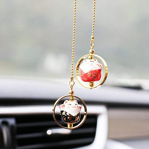 EatingBiting(R) 3 Styles Maneki Neko Lucky Fortune Cat Fengshui Pendant Ceramics Hanging Pendant Ring Home Car Decoration, 招き猫 Prosperity Avoid Evil Health Wealth Rich (Black ()