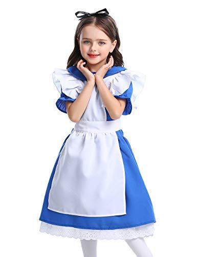 CASODA Girl Cartoon Cosplay Rural Costume Apron Maid Dress Halloween Christmas Festival Performance Prairie Farmyard, Deep Blue, L3040 -