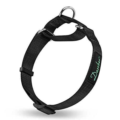 Dazzber Martingale Collars for Dogs, Adjustable Durable Dog Collar, Solid Color Nylon No Pull Dog Collars for Large/Medium/Small Dogs (Medium, Black)