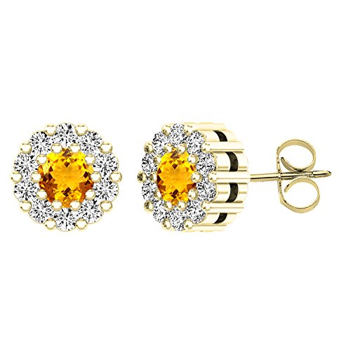 Dazzlingrock Collection 18K Round Citrine & Diamond Ladies Cluster Style Stud Earrings, Yellow Gold